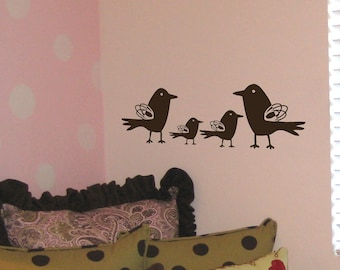 Squiggle Bird Family Medium Wall Decal