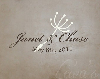 Dandelion Seed Wedding Name Vinyl Decal