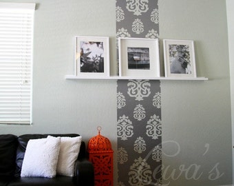 Damask Wall Strip - Vinyl Wall Decal Sticker - 8 foot height. Height can be customized