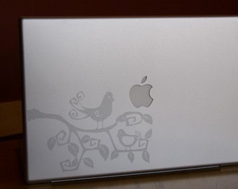 Swirly Birds and Branches Laptop / Notebook Computer Decal Silver Etched Glass
