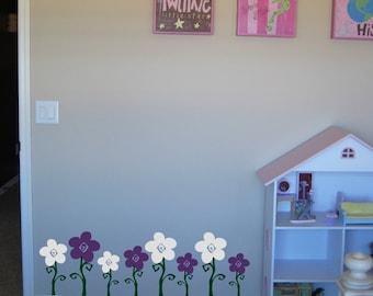 On SALE- Swirly Flower Garden Wall Decals