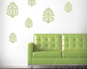 Set of 6 Damask Wall Decals