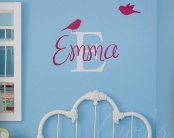 Birdies Custom Name and Monogram Vinyl Wall Decal