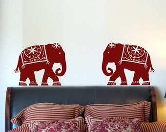 Decorated Elephant Wall Decal Medium