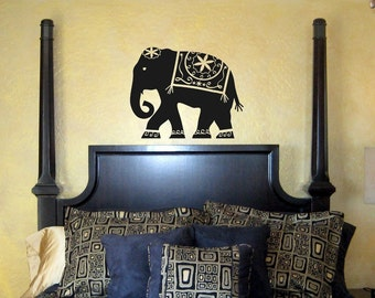 Large Decorated Elephant Wall Decal