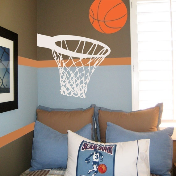 Basketball and hoop wall decal for Basketball wall decals