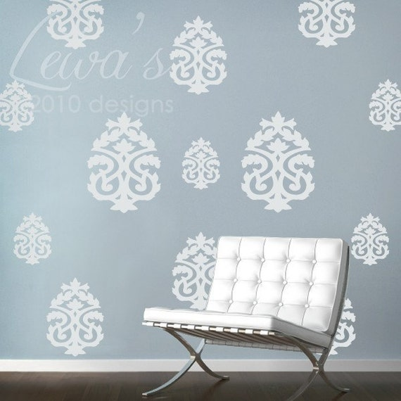 Set of 13 Large Damask Wall Decals