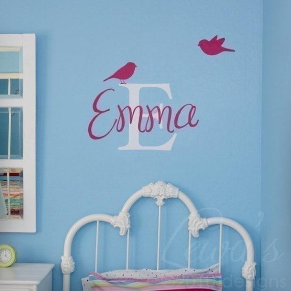 Custom Names Wall Decor : Birdies custom name and monogram vinyl wall decal