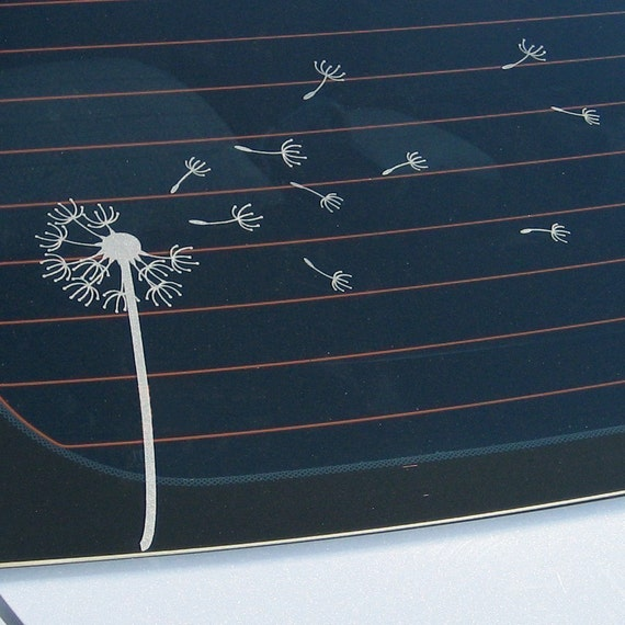 Etched Glass Dandelion in Wind Car Decal
