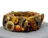 Orange and Brown Tweed Bangle Bracelet