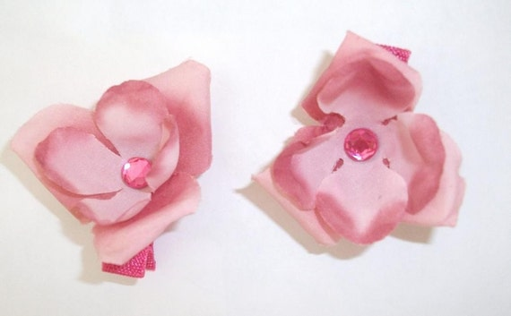 Thomasina - Two Pink Flower Girl Hair Clippies