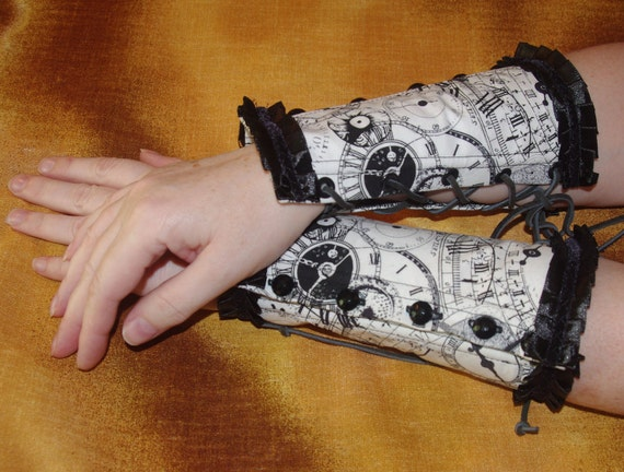 Reserved for Andi Pace Black and White Clockworks Steampunk Corset Cuffs