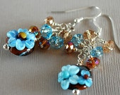 Blue Bells No. 1 Lampwork, Crystal and Sterling Earrings