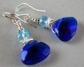 Blue Cinderella Earrings - Blue Glass Briolette Earrings - Sterling and Crystal Earrings - Happy Shack Designs