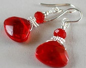 Ruby Slippers Earrings - Glass Ruby Briolette Earrings - Sterling and Crystal Earrings - Happy Shack Designs