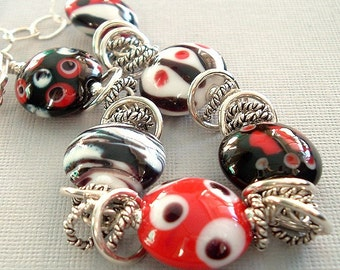 Snake Charmed Lampwork and Sterling Bracelet by Happy Shack Designs