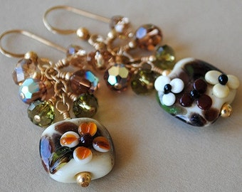 Golden Garnet Sunset Lampwork and Crystal Earrings by Happy Shack Designs