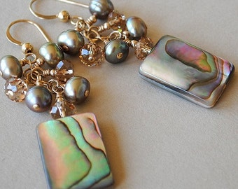 Abalone Earrings - Pearl Earrings - The Queen's Gems Abalone, Pearl and Crystal Earrings by Happy Shack Designs