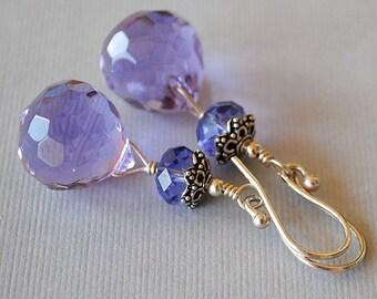 Angelica Crystal Drop Earrings by Happy Shack Designs - Purple Crystal Briolette Earrings