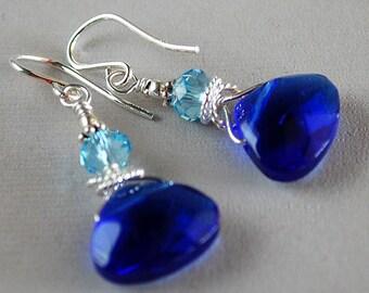 Blue Cinderella Earrings - Blue Glass Briolette Earrings - Sterling and Crystal Earrings - Happy Shack Designs
