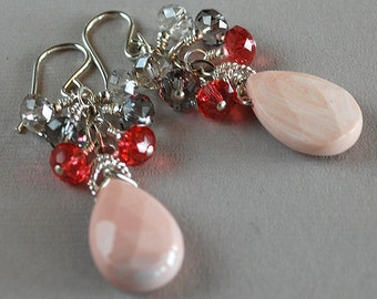 Kaluha Gemstone Earrings - Botswana Agate Briolette Earrings - Sterling and Crystal Earrings - Happy Shack Designs