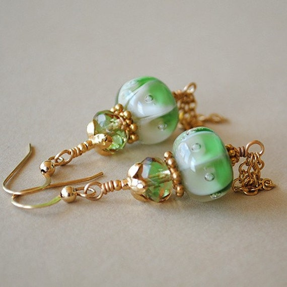 Golden Greens Lampwork and Crystal Earrings by Happy Shack Designs
