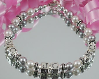 Swarovski Pearl and Sterling Silver Initial Bracelet , 3 sets of initials- White and Light Gray - Personalized