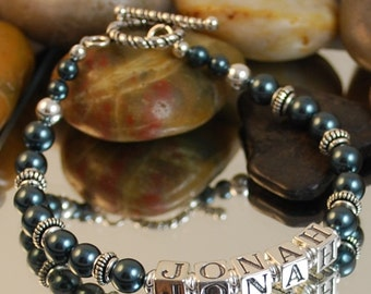 Personalized Mother's Bracelet, Tahitian Swarovski Pearl and Sterling Silver