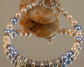 MOMMY Bracelet, Swarovski Pearls and Sterling Silver