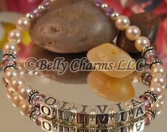 Swarovski Pearl and Birthstone Accent Mother's Name Bracelet