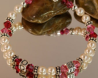 Swarovski Pearl and Birthstone Accent Mother's Name Bracelet- Initials