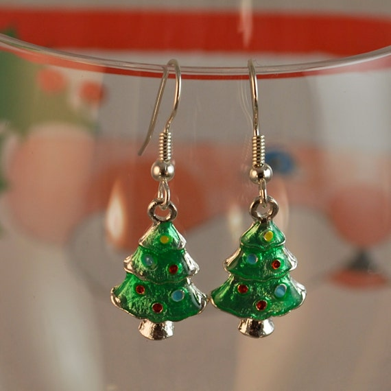 Christmas Tree Charm Earrings, Green With Colorful Ornaments