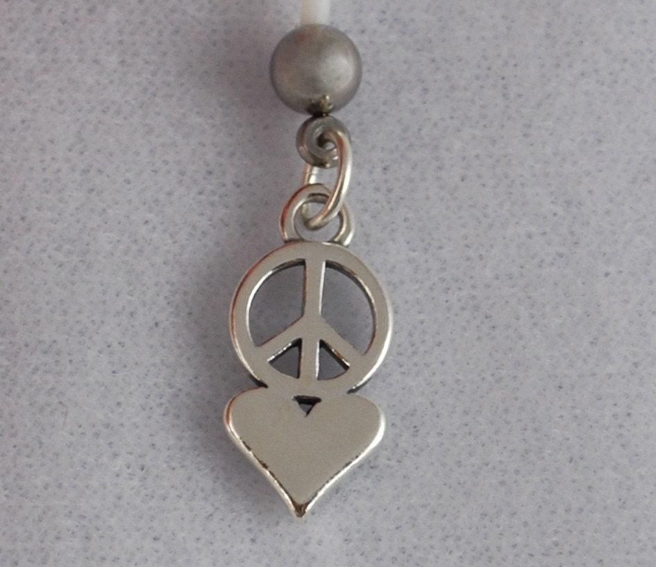 peace and sterling silver belly button ring by