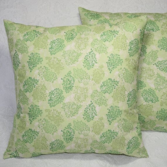 Light Green Decorative Pillow : Throw PIllow Cover Light Green Leaves Hopscotch 16 by sewgraceful