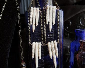 Spike Earrings~white howlite spikes~long earrings~statement earrings~festival jewelry~hippie~bohemian~tribal jewelry