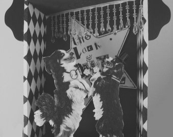 Dancing dogs black and white altered art box assemblage