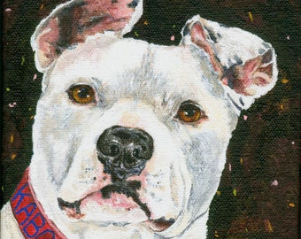 Custom Personalized Dog Portrait Folk Art Style From Your Photos of Your Pet