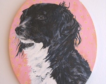 Custom Dog Portrait Personalized From Your Photos of Your Pet Folk Art Style