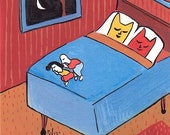 Whimsical and Funny Art Print Cats in Bed While People Sleep at Foot 16x20 - Bedroom Artwork Decor Red Blue Orange Poster