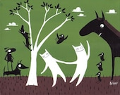 Whimsical Dog, Cat and Horse Art Print - Funny White Cat, Black Dog, Black Horse Artwork with Crows- Green and Brown Illustration