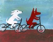 Dogs Riding Bikes ACEO Print Folk Art Animal Card