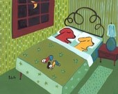 Dog ACEO Print - Whimsical and Humorous Dogs in Bed, People At Foot Art Artwork