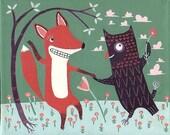 Fox and Owl Art Print 8x10 Dancing Illustration Orange Green Eggplant poster folk art