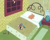 Funny Green Yorkie Art Print - Yorkshire Terrier Sleeps in Bed, People at Foot - 8x10