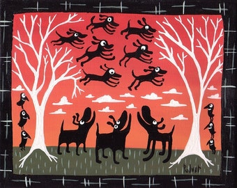 Black Dog Art Print . 8x10 . Happy Funny Red Folk Dog Wall Decor Artwork with Flying Black Labs and Crows