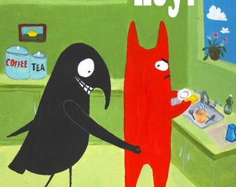 Funny Cat n Crow Card  HEY Crow Pinches Cat's Butt - Whimsical Snarky Quirky and Wacky