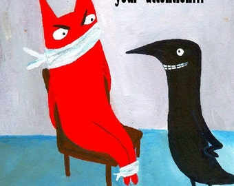 Funny Captive Cat n Crow Card - Whimsical and Snarky Folk Art Grumpy Cat Animal Note Card
