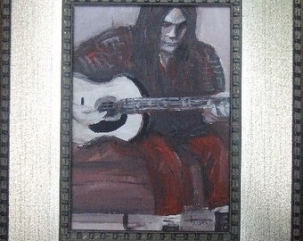 Original Neil Young Portrait Acrylic Painting . Framed Folk Art . Music Guitar Rock n Roll Artwork Decor