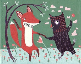 Fox and Owl ACEO Art Print - Whimsical Dancing Woodland Animal Illustration Artwork