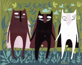 Whimsical Three Cat Superhero Art Painting - Original Funny Caped Crusader Artwork Decor
